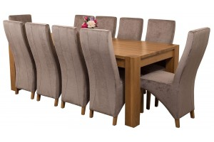 Kuba Solid Oak 220cm Dining Table with 10 Lola Dining Chairs [Grey Fabric]