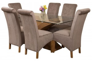 Valencia Oak 160cm Wood and Glass Dining Table with 6 Montana Dining Chairs [Grey Fabric]