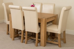 Kuba Solid Oak 125cm Dining Table with 6 Washington Dining Chairs [Ivory Leather]