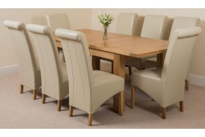 Seattle Solid Oak 150cm-210cm Extending Dining Table with 8 Montana Dining Chairs [Ivory Leather]