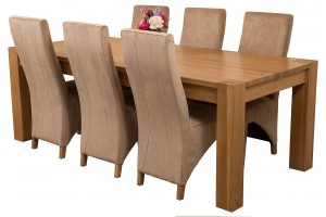 Kuba Solid Oak 220cm Dining Table with 6 Lola Dining Chairs [Beige Fabric]