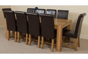 Kuba Solid Oak 220cm Dining Table with 10 Washington Dining Chairs [Brown Leather]
