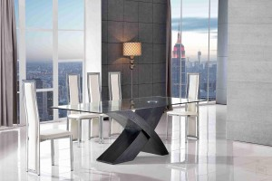Valencia Black 200cm Wood and Glass Dining Table with 6 Elsa Designer Dining Chairs [Ivory]