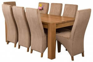Kuba Solid Oak 180cm Dining Table with 8 Lola Dining Chairs [Beige Fabric]