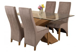 Valencia Oak 160cm Wood and Glass Dining Table with 4 Lola Dining Chairs [Grey Fabric]