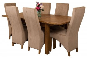 Cotswold Rustic Solid Oak 132cm-198cm Extending Farmhouse Dining Table with 6 Lola Dining Chairs [Beige Fabric]