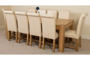Kuba Solid Oak 220cm Dining Table with 10 Washington Dining Chairs [Ivory Leather]