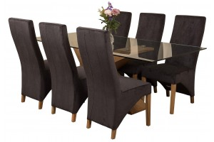 Valencia Oak 200cm Wood and Glass Dining Table with 6 Lola Dining Chairs [Black Fabric]
