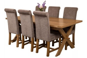 Vermont Solid Oak 200cm-240cm Crossed Leg Extending Dining Table with 6 Washington Dining Chairs [Grey Fabric]