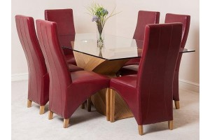 Valencia Oak 200cm Wood and Glass Dining Table with 6 Lola Dining Chairs [Burgundy Leather]