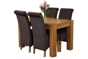 Kuba Solid Oak 125cm Dining Table with 4 Montana Dining Chairs [Black Fabric]