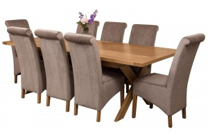 Vermont Solid Oak 200cm-240cm Crossed Leg Extending Dining Table with 8 Montana Dining Chairs [Grey Fabric]