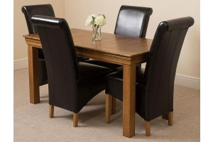 French Chateau Rustic Solid Oak 150cm Dining Table with 4 Montana Dining Chairs [Black Leather]