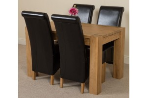 Kuba Solid Oak 125cm Dining Table with 4 Montana Dining Chairs [Black Leather]
