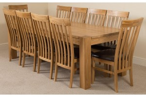Kuba Solid Oak 220cm Dining Table with 10 Harvard Solid Oak Dining Chairs [Light Oak and Brown Leather]