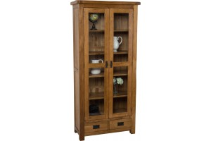 Cotswold Rustic Solid Oak Display Cabinet