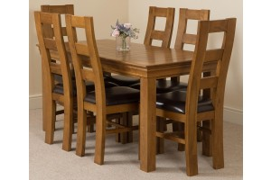 French Chateau Rustic Solid Oak 150cm Dining Table with 6 Yale Solid Oak Dining Chairs [Rustic Oak and Brown Leather]