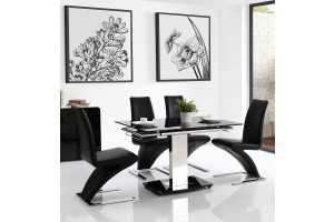 Front of Enzo 80-120cm Extending Glass Dining Table with 4 Zed Designer Dining Chairs [Black]