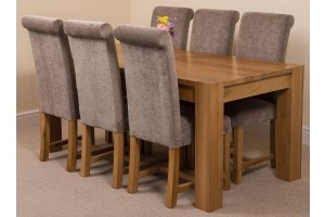 Kuba Solid Oak 180cm Dining Table with 6 Washington Dining Chairs [Grey Fabric]