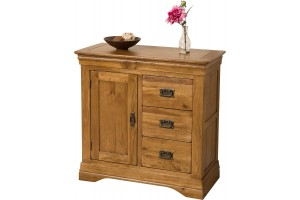 French Chateau Rustic Solid Oak Media Storage Unit