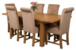 Seattle Solid Oak 150cm-210cm Extending Dining Table with 6 Washington Dining Chairs [Beige Fabric]