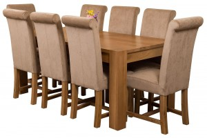 Kuba Solid Oak 180cm Dining Table with 8 Washington Dining Chairs [Beige Fabric]