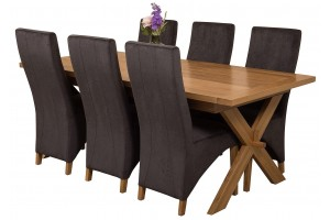 Vermont Solid Oak 200cm-240cm Crossed Leg Extending Dining Table with 6 Lola Dining Chairs [Black Fabric]