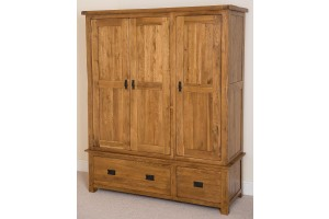 Cotswold Rustic Solid Oak Triple Wardrobe