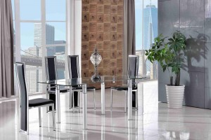 Verona Extending Glass Dining Table with 6 Elsa Designer Dining Chairs [Black]