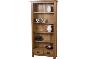 Cotswold Rustic Solid Oak Large Bookcase