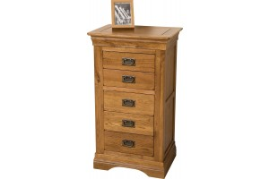 French Chateau Rustic Solid Oak Tallboy [5 drawer]