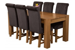 Kuba Solid Oak 180cm Dining Table with 6 Washington Dining Chairs [Black Fabric]