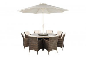 Savannah Rattan Garden Furniture [8 Seat Dining Set Plus Back Cushion]