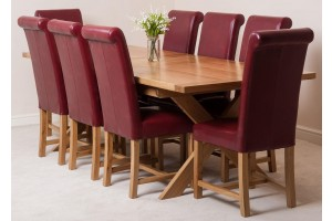 Vermont Solid Oak 200cm-240cm Crossed Leg Extending Dining Table with 8 Washington Dining Chairs [Burgundy Leather]