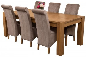 Kuba Solid Oak 220cm Dining Table with 6 Montana Dining Chairs [Grey Fabric]