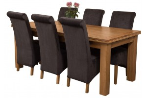 Richmond Solid Oak 200cm-280cm Extending Dining Table with 6 Montana Dining Chairs [Black Fabric]