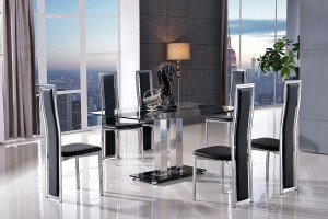 Roma Black Glass Dining Table with 4 Elsa Designer Dining Chairs [Black]