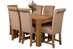Kuba Solid Oak 125cm Dining Table with 6 Washington Dining Chairs [Beige Fabric]