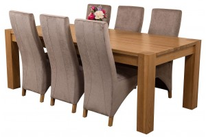 Kuba Solid Oak 220cm Dining Table with 6 Lola Dining Chairs [Grey Fabric]