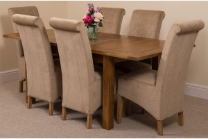 Cotswold Rustic Solid Oak 132cm-198cm Extending Farmhouse Dining Table with 6 Montana Dining Chairs [Beige Fabric]