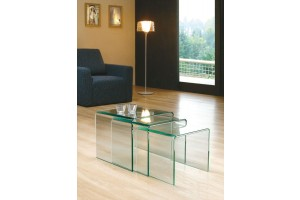Full Length Milan Glass Nest of Tables [Clear Glass]
