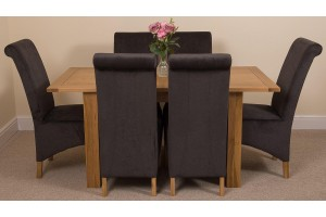 Hampton Solid Oak 120-160cm Extending Dining Table with 6 Montana Dining Chairs [Black Fabric]