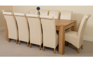 Kuba Solid Oak 220cm Dining Table with 10 Montana Dining Chairs [Ivory Leather]