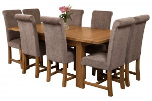 Seattle Solid Oak 150cm-210cm Extending Dining Table with 8 Washington Dining Chairs [Grey Fabric]