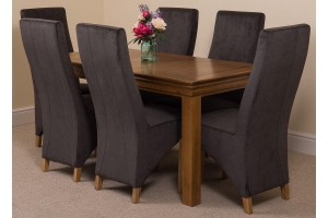 French Chateau Rustic Solid Oak 150cm Dining Table with 6 Lola Dining Chairs [Black Fabric]