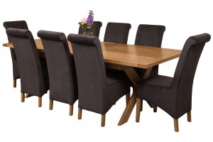 Vermont Solid Oak 200cm-240cm Crossed Leg Extending Dining Table with 8 Montana Dining Chairs [Black Fabric]