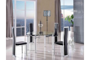 Torino Designer 74cm-120cm Extending Dining Table with 4 Elsa Designer Dining Chairs [Black]