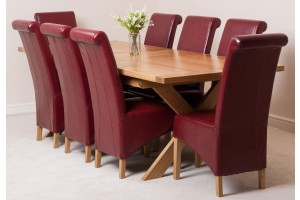 Vermont Solid Oak 200cm-240cm Crossed Leg Extending Dining Table with 8 Montana Dining Chairs [Burgundy Leather]
