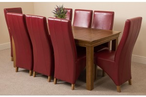French Chateau Rustic Solid Oak 180cm Dining Table with 8 Lola Dining Chairs [Burgundy Leather]