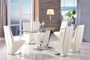 Valentino Glass and Steel Designer Dining Table with 6 Rita Designer Dining Chairs [Ivory]